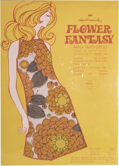 "1960s Hallmark Paper Party Fashions ""Flower Fantasy"""