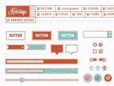 Vector Mill — Mid-Century Modern Crate -vintage ui kit - part of a design kit Design Web, Blog Design, Typography Layout, Graphic Design Typography, Ui Elements, Design Elements, Cfa, Ui Design Inspiration, Design Ideas