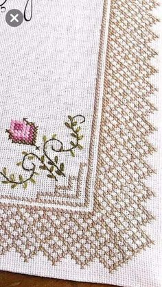 Lovely floral/roses cross stitch embroidered tablecloth in white linen from Sweden Cross Stitch Boarders, Cross Stitch Tree, Cross Stitch Heart, Cross Stitch Designs, Cross Stitching, Cross Stitch Embroidery, Cross Stitch Patterns, Crochet Patterns, Drawn Thread