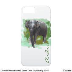 Custom Name Painted Green Cute Elephant