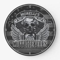 Personalized American Flag Biker Skull Motorcycle Large Clock #decor #nature #sports mountain bike for beginners, mountain bike art, mountain bike photography, dried orange slices, yule decorations, scandinavian christmas Skull Motorcycle, Motorcycle Tips, Full Suspension Mountain Bike, Bike Photography, Yule Decorations, Large Clock, Bike Art, Scandinavian Christmas, American Flag