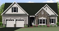 Ranch Elevation of Plan 54075