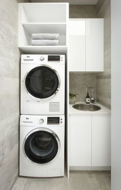 Not every person can make an ideal small laundry room design thoughts. That is on the grounds that they will in general believe that their laundry room space is very small. Room Organization, Small Laundry Space, Room Storage Diy, Small Laundry, European Laundry, Laundry Cupboard, Small Room Design, Compact Laundry, Room Design