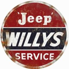 Round Reproduction Jeep Willys Service Station Sign
