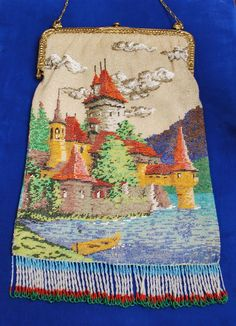 Exquisite Beaded Fairytale Castle Scenic Purse