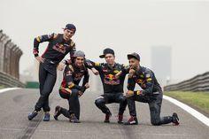 Daniel Ricciardo, Red Bull Racing, Daniil Kvyat, Red Bull Racing, Max Verstappen, Scuderia Toro Rosso en Carlos Sainz Jr., Scuderia Toro Rosso