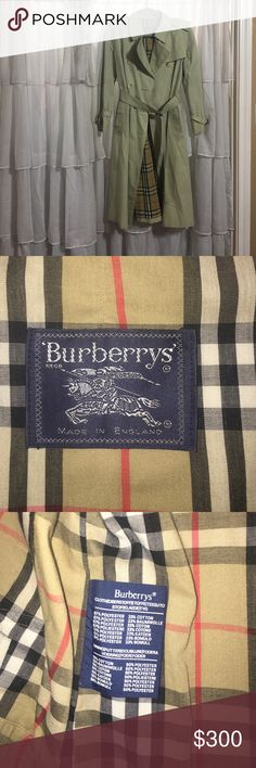 Women's Burberry Trench Coat Beautiful authentic Burberry Trench coat. No stains, holes, rips, or imperfections. It has been very well cared for. The size is 10 Petite, which roughly translates to a women's medium. The leather on the clasps is the only thing that shows age. Please make me an offer or ask any questions. Burberry Jackets & Coats Trench Coats