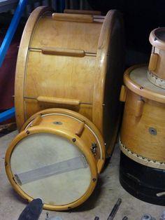 Drum kit from World War II when metal was scarce