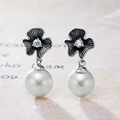 2017Arrivals Sterling Silver White Freshwater Pearl Stud Dangle Earrings