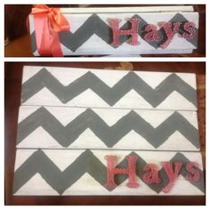 String art, chevron. It makes a great present. Wood, hinges, paint, nails, and yarn      .