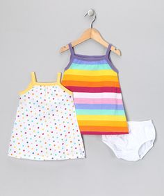 Take a look at this Yellow & Purple Stripe & Polka Dot Dress Set - Infant & Toddler by Gioberti on #zulily today!