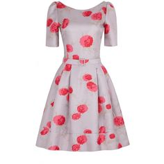 Fifties Oriental Bloom Silk Print Dress Cosmetic ($490) ❤ liked on Polyvore featuring dresses, vestidos, short dresses, day dresses, boat neck dresses, 3/4 length sleeve dresses, pink mini dress, silk dress and boatneck dress