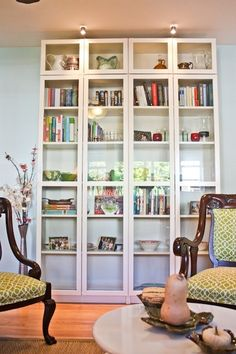 Billy IKEA book shelves - glass doors and height extensions Billy Bookcase With Doors, Bookshelves Built In, Built Ins, Billy Bookcases, Bookshelf Ideas, Bookshelf Design, Ikea Billy Bookcase Hack, Bookcase Storage, Billy Bookcase Office