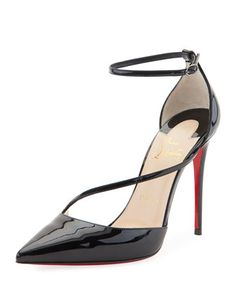 1fd6b2c9a66d Christian Louboutin Fliketta Patent 100mm Red Sole Ankle-Wrap Pump