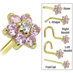 Solid 14KT Yellow Gold Pink and Clear Cubic Zirconia Flower Nose Ring   Body Candy Body Jewelry