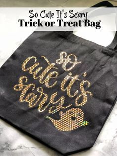 Learn how to make this So Cute It's Scary Trick or Treat Bag using a canvas tote bag, holographic iron-on vinyl, and a Cricut!
