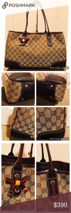 e5edf641e7d6 vintage gucci tote good used condition- fabric is intact