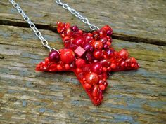 Star Necklace red star necklace beaded necklace star by reccabella