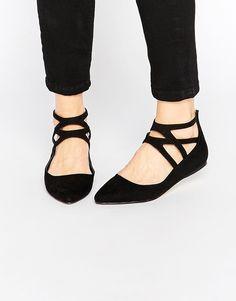London Rebel | London Rebel Cross Strap Flat Shoes at ASOS