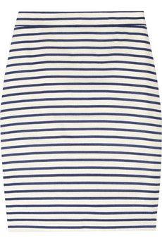 dapper striped linen-blend pencil skirt ++ j.crew