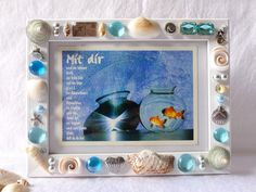 shell photo frame framed mosaics shell decor handmade