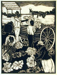 """Cutting Cabbage (from the series """"This our Land) - linocut 1948 - Anna Heyward Taylor, 1879-1956, U.S.A."""