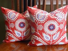 Decorative Accent Pillow Covers - Two18 Inch in Red. $39.99, via Etsy.