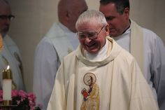 Paulist Fr. Kevin Devine after the Mass celebrating the 60th anniversary of his ordination to the priesthood.