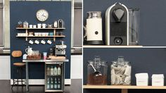 Want to create a zoned coffee station within your kitchen? Barb Purdy showed us how, using a bold wall colour, open shelving and accessories. Above: wall colour, Espionage C2-44 by C2 Paint through Monarch Paints; wall shelf, Ikea; stool, clock,...