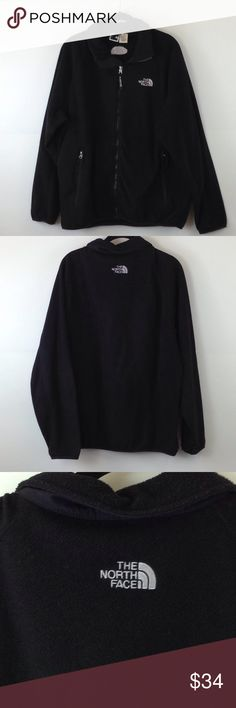 """The North Face black fleece jacket The North Face black fleece jacket High collar, zip up front pockets Size L Bust 48"""" Waist 46""""  Item-130/L North Face Jackets & Coats"""