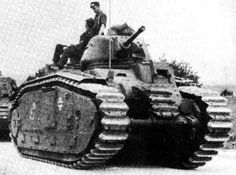 French-designed Char B1 bis tanks (Flammwagen auf Panzerkampfwagen B2 (F) in German service) of Panzerabteilung (F) 102 captured by the Germans in the Battle of France move up to the front during Operation Barbarossa. These tanks have been modified with the same flammenwerfer-Spritzkopf (flamethrower spray head) system designed for the Panzer II in the place of the hull-mounted 75mm (3-inch) main gun.