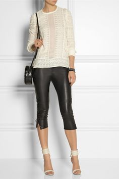 Isabel Marant                               Cleavon cropped lace-up stretch-leather pants
