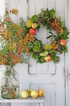 Someday I will have a new home and this is exactly the feel I'd love. French country. Farmhouse. Shabby chic. All mixed together... I love this wreath with fruits don't you?