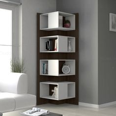 Corner wall shelves ideas for modern home interior design 2019 Living Room Corner Furniture, Living Room Shelves, Home Decor Furniture, Living Room Decor, Furniture Design, Living Rooms, Bedroom Shelves, Office Furniture, Unique Furniture
