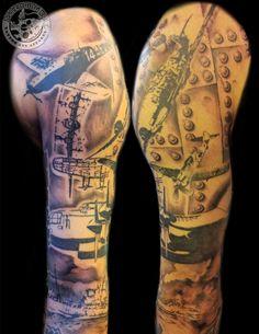 In-progress aircraft sleeve by Rob Sweet #ascendingkoi #tattoos #aircraft #sleeve