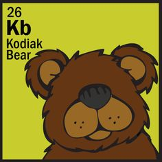The Animal Table Wild Thing of the Week is the Kodiak Bear Earth Logo, Periodic Table Of The Elements, Stamp Carving, Cartoon Drawings, Animal Kingdom, Baby Animals, Coloring Pages, Stencils, Bears