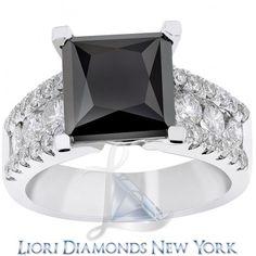 5.18 Carat Princess Cut Natural Black Diamond Engagement Ring 14K White Gold - Black Diamond Engagement Rings - Engagement - Lioridiamonds.com