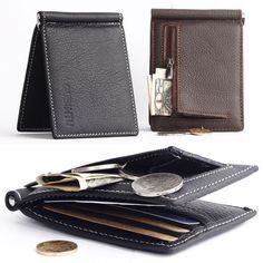 Sale 22% (7.63$) - Men Genuine Leather Business Small Multifunctional Money bag Card Holders Wallet