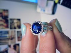 Ladies 1-2/7CT Oval Blue Sapphire 925 Silver 14K White Gold Over Engagement Ring #2Jewelauction #SolitairewithAccents