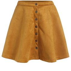 Single-breasted Flare Yellow Skirt ($14) ❤ liked on Polyvore featuring skirts, bottoms, saias, romwe, yellow, yellow knee length skirt, flare skirt, short brown skirt, flared hem skirt and short flared skirt