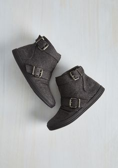 Night Class Cutie Bootie in Charcoal by Blowfish - Grey, Solid, Buckles, Casual, Urban, Fall, Good, Ankle, Flat, Woven, Variation