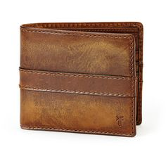 Frye Oliver Leather Bi-Fold Wallet ($135) ❤ liked on Polyvore featuring men's fashion, men's bags, men's wallets, dark brown, mens leather bifold wallet, vintage mens wallet and mens leather wallets