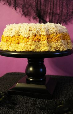 Candy corn Rice Krispie cake! #halloween #party