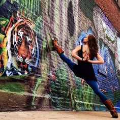 You've Never Seen Yoga Quite Like This #refinery29  http://www.refinery29.com/chicago-street-art-amazing-yoga-poses#slide-12  Eye on the tiger.Artist unknown.