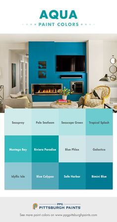 Aqua Paint Colors from PPG Pittsburgh Paints!  Aquas are very relaxing because of their relationship to the sea and lakes – and how naturally we are relaxed by these vistas. It is our need for calming spaces in our fast-paced, chatter-filled lives that crave this kind of release. Thus aqua hues are perfect for bedrooms, bathrooms, and living spaces where a serene, calm beauty is wanted.