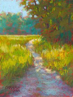 """Daily Paintworks - """"Park Trail - Original Fine Art for Sale - © Rita Kirkman Pastel Landscape, Landscape Art, Landscape Paintings, Impressionist Paintings, Oil Paintings, Pastel Paintings, Seascape Art, Park Trails, Building Art"""