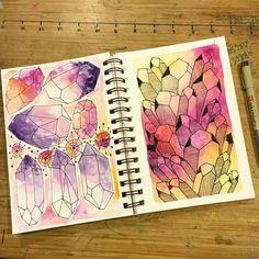 Bedtime Sketchbook.  Goodnight you lovely souls you. 😘 #watercolor #watercolorart #art #artist #sketch #sketchbook #crystals #illustration #amethyst #healingcrystals #pen #ink #lines #geometry #love #sleep #bye