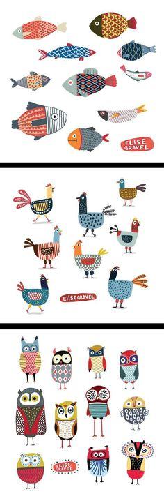 Doodles: Animals by Elise Gravel illustration Zentangle, Doodles, Doodle Art, Bird Doodle, Doodle Ideas, Art Lessons, Illustrators, Art For Kids, Pattern Design