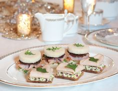 Savory and sweet are combined with these Chocolate Pancetta & Smoked Ham Tea Sandwiches with Caramelized Shallot-Sherry Aïoli.