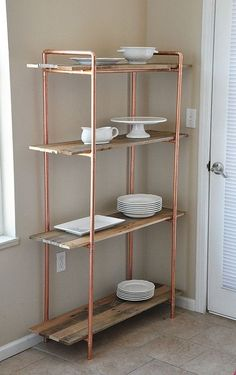 Reclaimed wood shelf with copper frame, kitchen shelves, kitchen cabinet . - Reclaimed wood shelf with copper frame, kitchen shelves, kitchen cabinet … # Kitchen S - Copper Furniture, Pipe Furniture, Farmhouse Furniture, Industrial Furniture, Furniture Design, Industrial Lamps, Furniture Vintage, Furniture Outlet, Kitchen Furniture